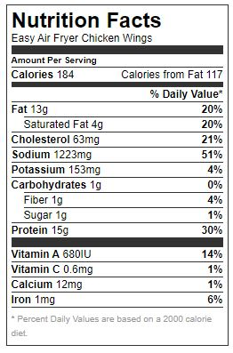 Nutrition facts - Air Fryer Buffalo Chicken Wings