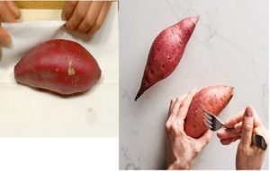 pat them dry with paper towels. Pierce the potatoes with a knife