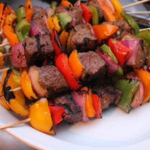 serve steak kabobs and enjoy right away