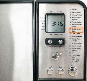 Utilize the quick bread setting (or equivalent).